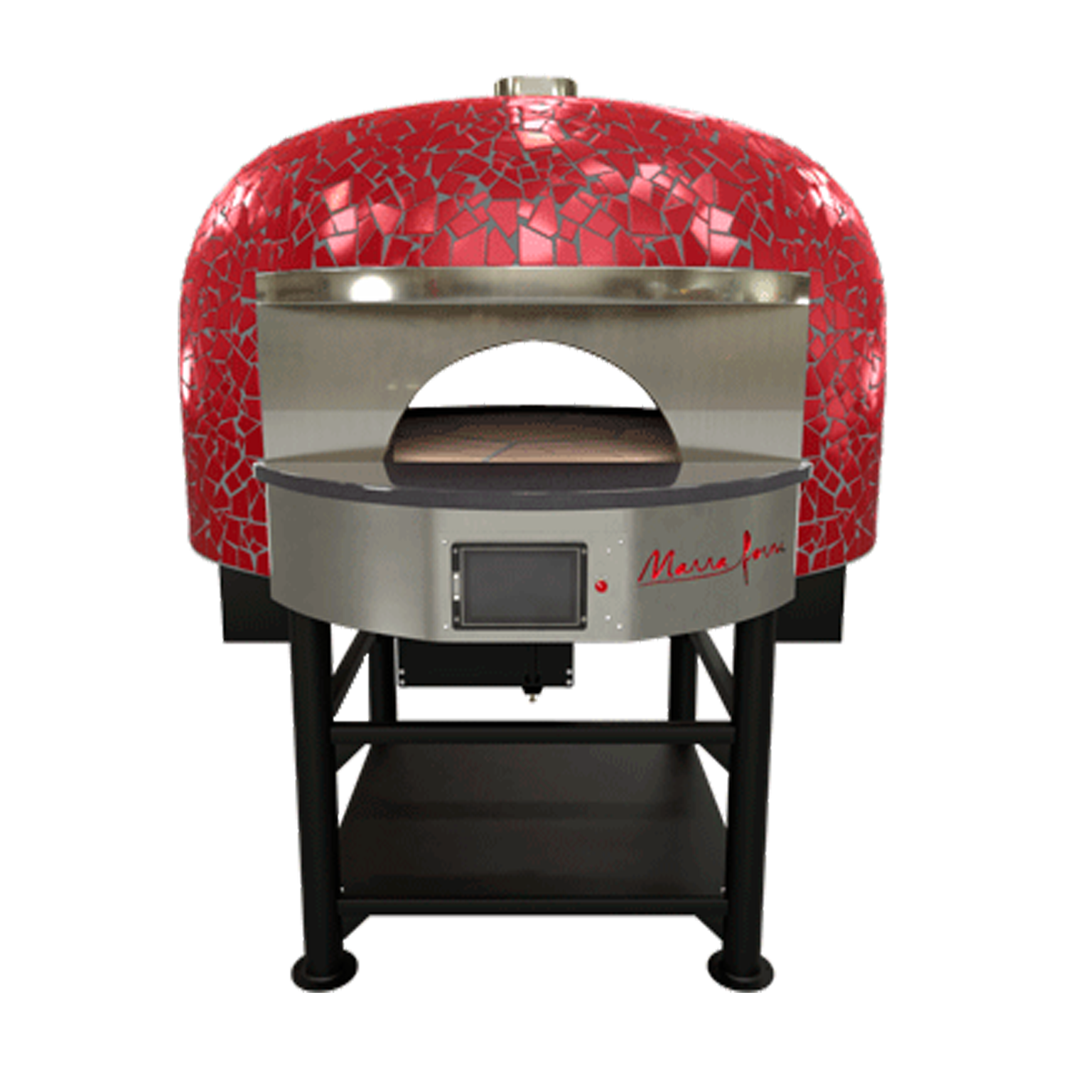 Red Marra Forni Double Mouth Rotator Brick Oven