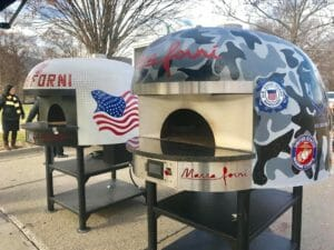 Marra Forni white and camouflage Military Themed Neapolitan Brick Ovens
