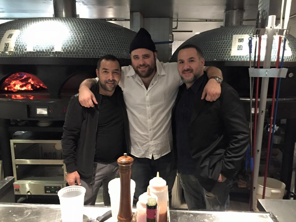 Marra Brothers pose with celebrity chef Christian Petroni at Restaurant