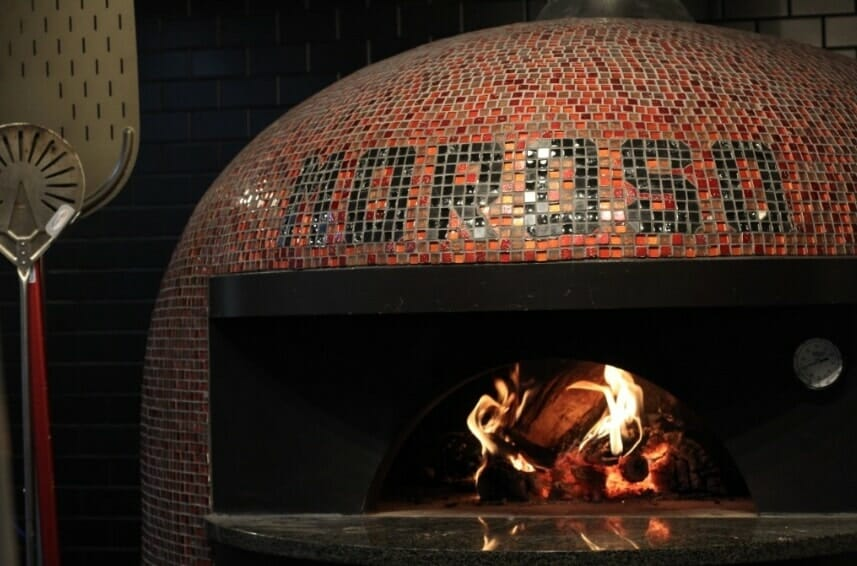 Red and Black brick pizza oven Moroso